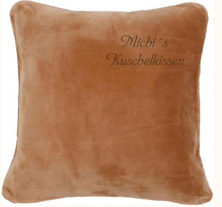 KringsFashion Kissen Kuschelkissen mit Name, 50 x 50 cm, sand, Stickfarbe gold, Wunschtext individuell eingestickt; Hülle mit Inlett,