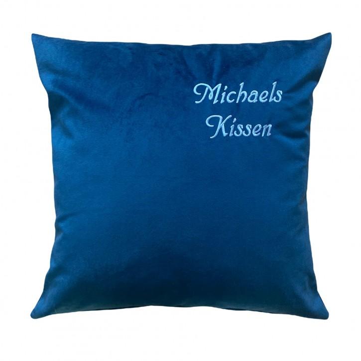 KringsFashion Kissen Kuschelkissen mit Name, 50 x 50 cm, dunkelblau, Stickfarbe gold, Wunschtext individuell eingestickt; Hülle mit Inlett,