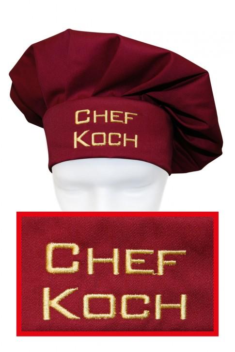 Kochmütze Chefkoch, hochwertig bestickt, Farbe cherry/bordeaux
