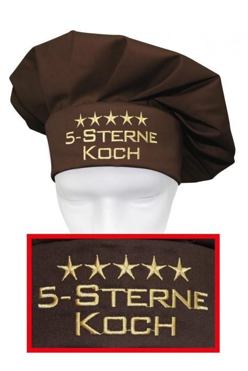 Kochmütze 5-Sterne-Koch, hochwertig bestickt, Farbe toffee/braun