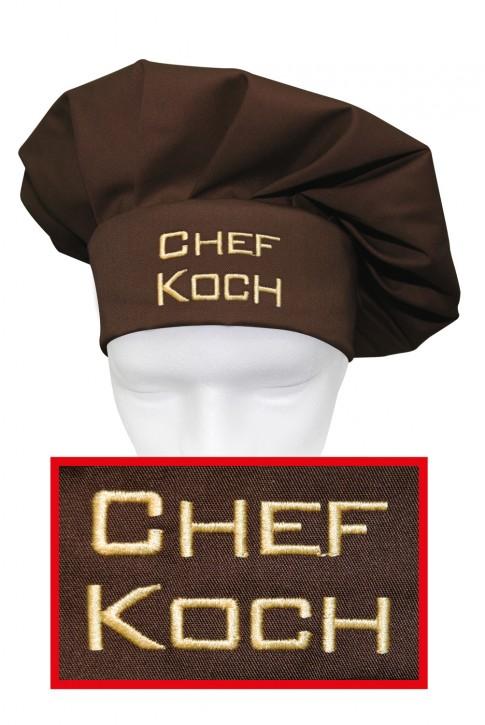 Kochmütze Chefkoch, hochwertig bestickt, Farbe toffee/braun