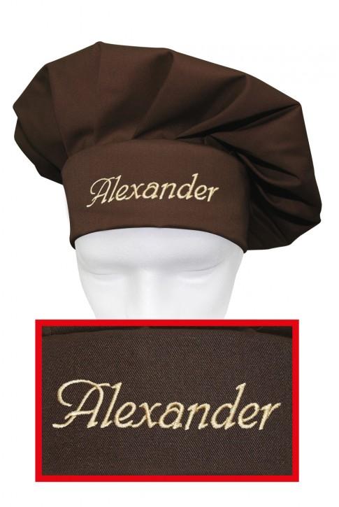 Kochmütze mit Name, individuell bestickt, Farbe toffee/braun