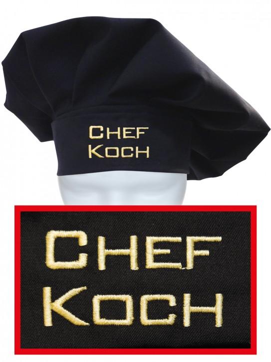 Kochmütze Chefkoch, hochwertig bestickt, Farbe schwarz