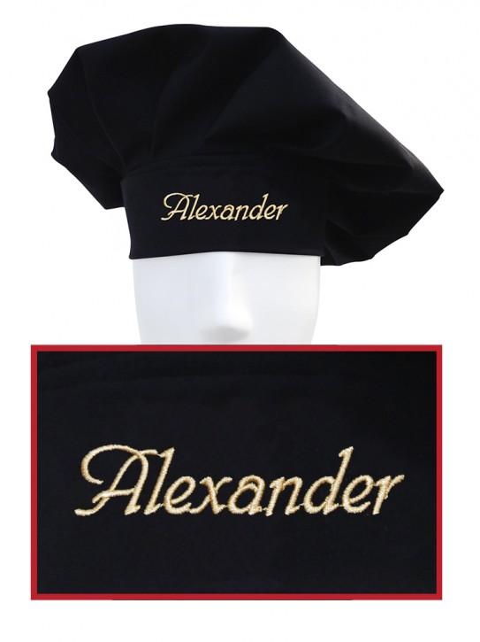 Kochmütze mit Name, individuell bestickt, Farbe schwarz