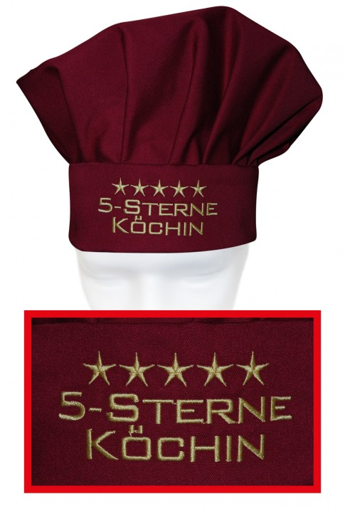 Kochmütze 5-Sterne-Köchin, hochwertig bestickt, Farbe cherry