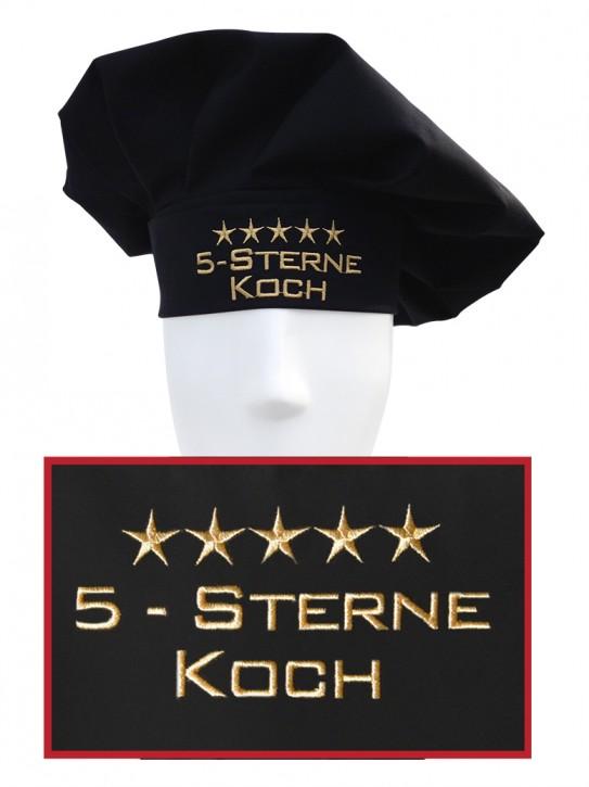 Kochmütze 5-Sterne-Koch, hochwertig bestickt, Farbe schwarz