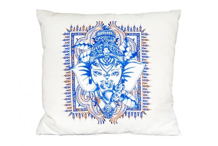 Kissen 40x40 cm bedruckt  creme / beige Motiv: Ganesha <br> made in germany