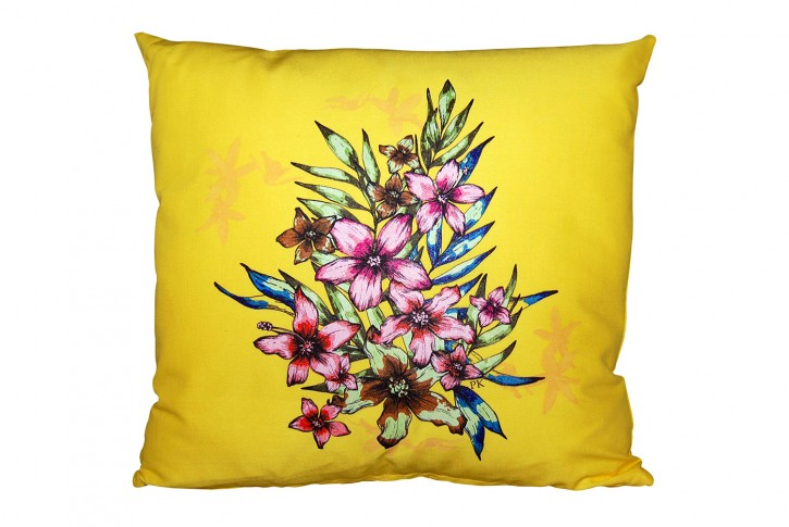 Kissen 40x40 cm bedruckt sonnengelb Motiv: Blumen <br> made in germany
