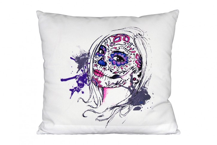 Kissen 40x40 cm bedruckt hellgrau - Motiv: SugarSkull <br> made in germany