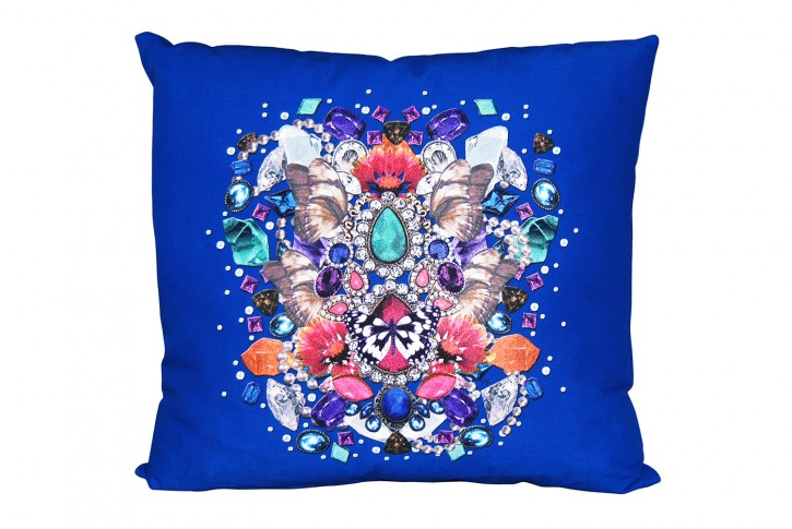 Kissen 40x40 cm bedruckt royalblau - Motiv: Juwelen <br> made in germany