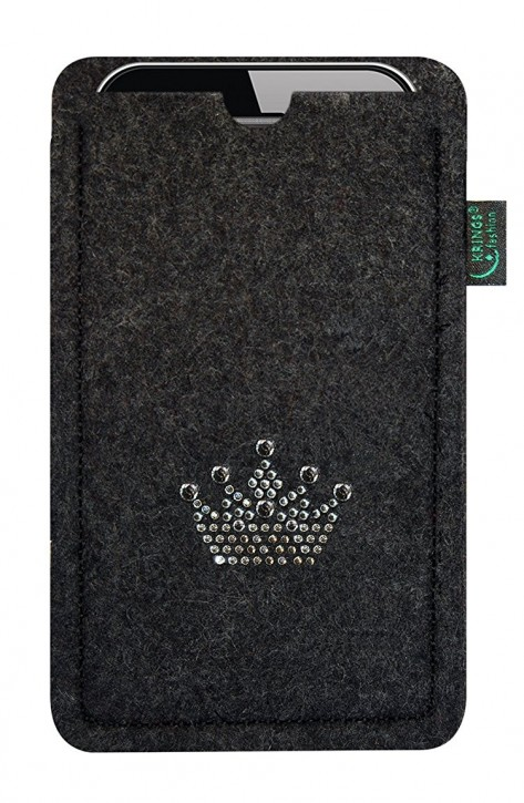 Tasche/Hülle Krone Swarovski-Kristalle Filzauswahl - Wähle Smartphone