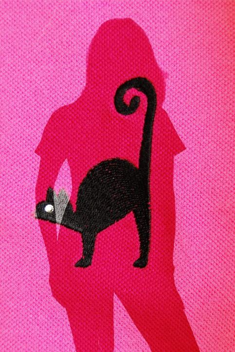 KringsFashion® Poloshirt Farbe pink, Katze, Stickerei mit Swarovski-Stein
