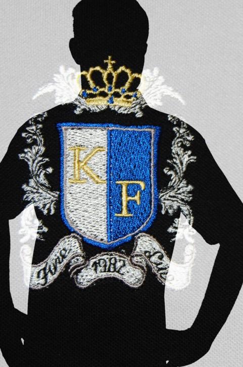 KringsFashion® Poloshirt Farbe schwarz, Wappen KFblau, Stickerei