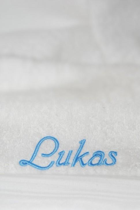 Saunatuch XXL mit Name bestickt, 90x220cm, weiß; edle Handtuchserie, SF Hellblau