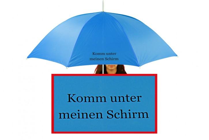 Regenschirm mit Name / eigenem Text bedruckt individualisiert, blau