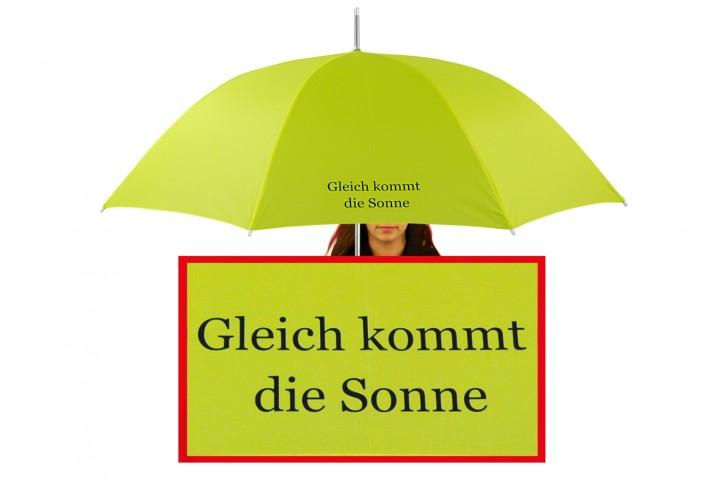 Regenschirm mit Name / eigenem Text bedruckt individualisiert, lime