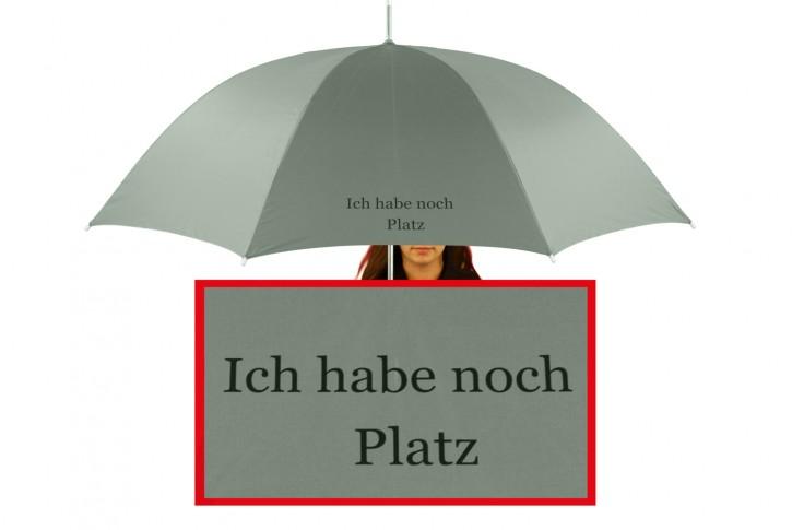 Regenschirm mit Name / eigenem Text bedruckt individualisiert, grau