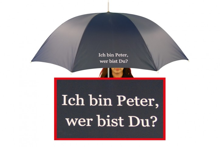 Regenschirm mit Name / eigenem Text bedruckt individualisiert, navy