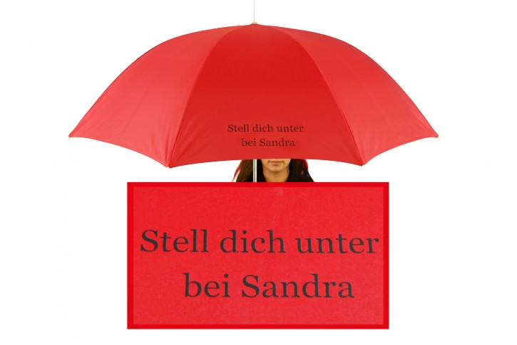 Regenschirm mit Name / eigenem Text bedruckt individualisiert, rot
