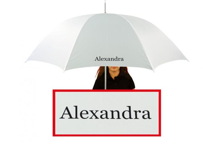 Regenschirm mit Name / eigenem Text bedruckt individualisiert, weiß