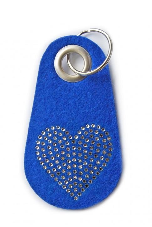 Schlüsselanhänger Filz blau verziert mit Swarovski Motiv Herz