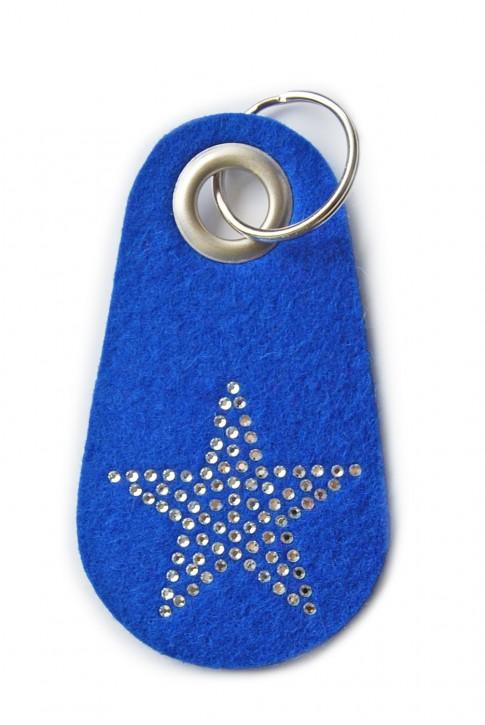 Schlüsselanhänger Filz blau verziert mit Swarovski Motiv Stern