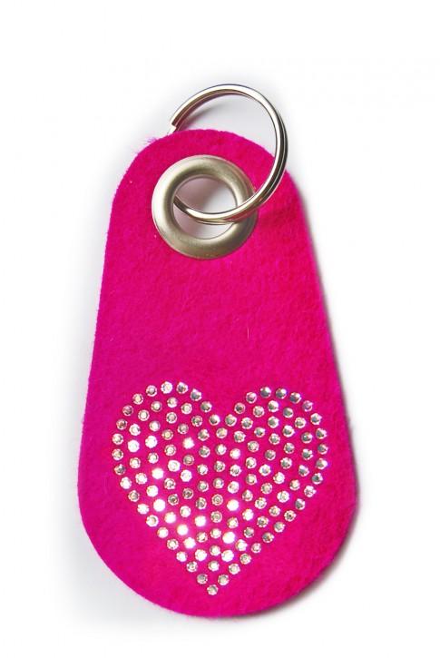 Schlüsselanhänger Filz pink verziert mit Swarovski Motiv Herz