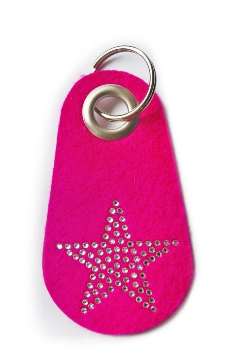 Schlüsselanhänger Filz pink verziert mit Swarovski Motiv Stern