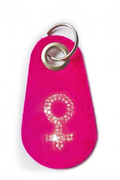 Schlüsselanhänger Filz pink verziert mit Swarovski Motiv Frau