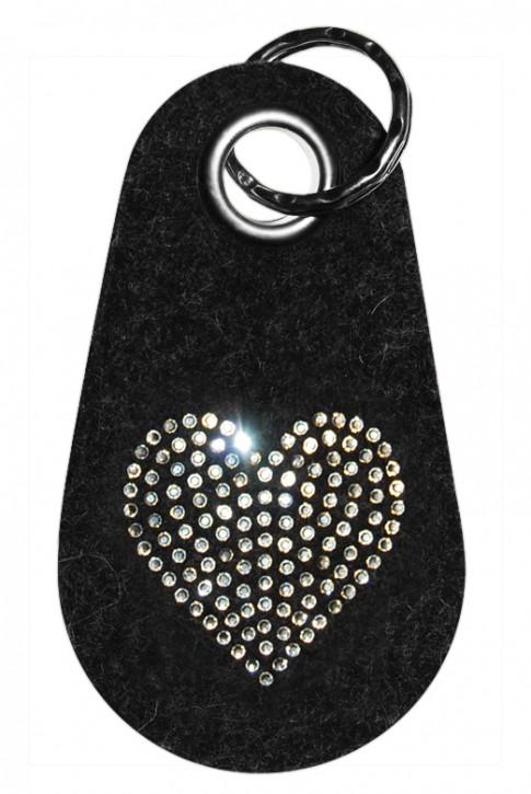 Schlüsselanhänger Filz verziert mit Swarovski Motiv Herz