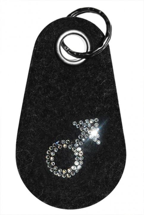 Schlüsselanhänger Filz verziert mit Swarovski Motiv Mann