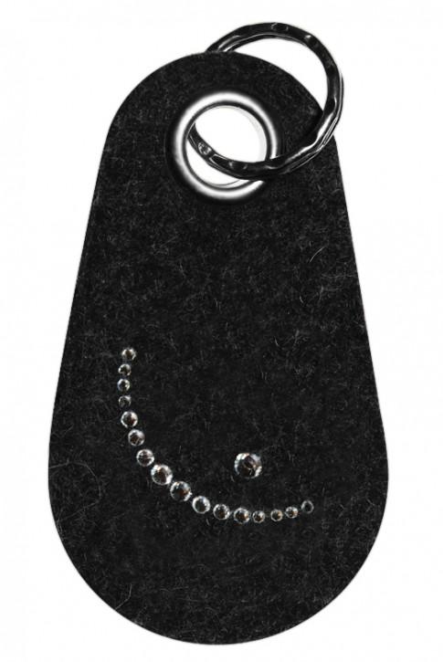 Schlüsselanhänger Filz verziert mit Swarovski Motiv Smiley