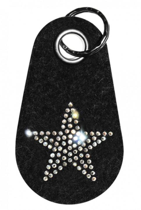 Schlüsselanhänger Filz verziert mit Swarovski Motiv Stern