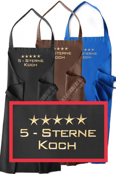 Latzschürze 5-Sterne-Koch, Schürzenfarbe zur Auswahl