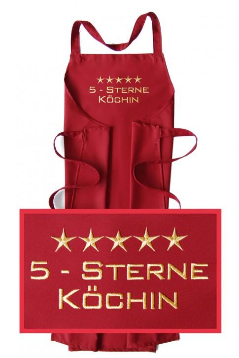 Latzschürze 5-Sterne-Köchin, hochwertig gestickt, Schürzenfarbe zur Auswahl