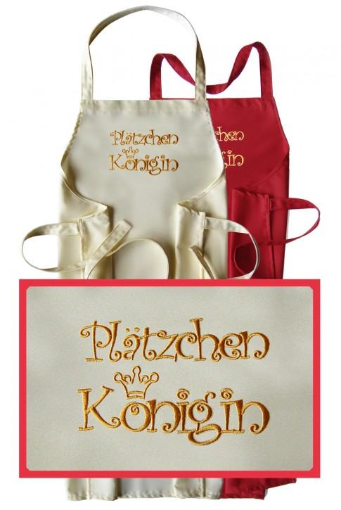 Latzschürze Plätzchenkönigin, hochwertig gestickt, Farbe zur Auswahl