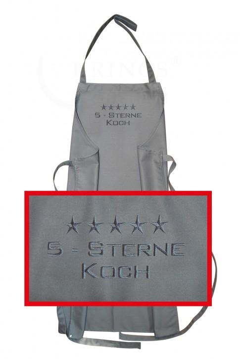 Latzschürze 5-Sterne-Koch, hochwertig gestickt, Schürze graphit grau