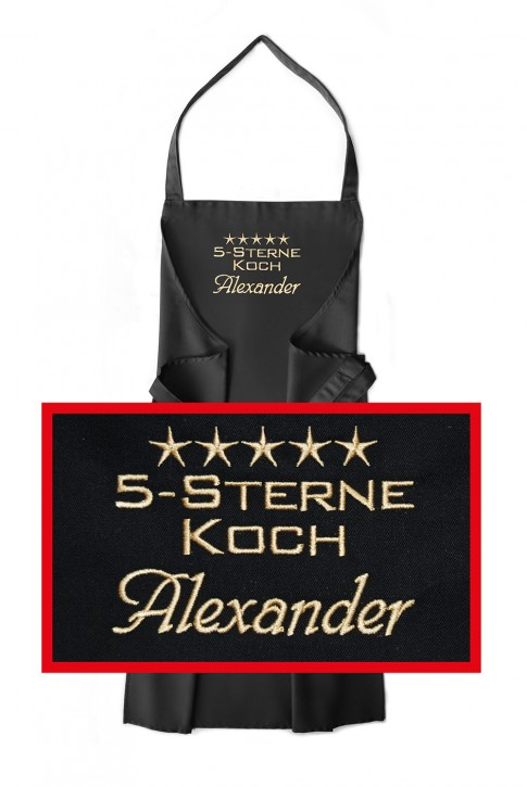 Latzschürze 5-Sterne-Koch + Name, Farbe zur Auswahl
