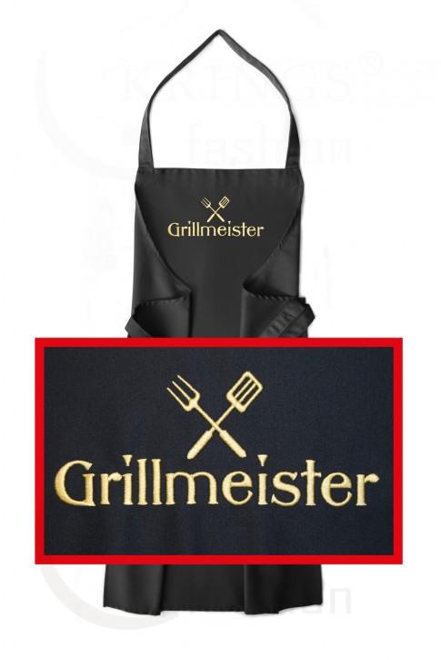 Latzschürze mit Motiv Grillmeister, hochwertig gestickt, Schürzenfarbe zur Auswahl