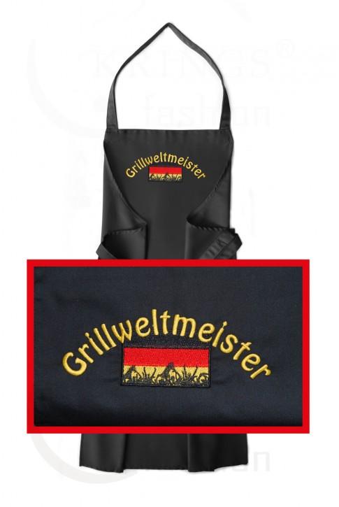 Latzschürze mit Motiv Grillweltmeister hochwertig gestickt, Schürze Schwarz