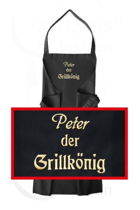 Latzschürze Wunsch-Name + <br> der Grillkönig