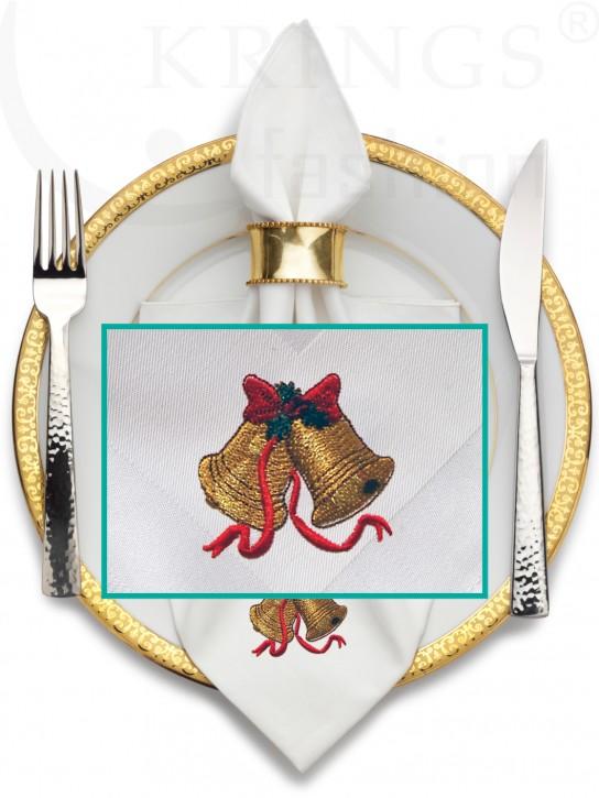Serviette-Weihnacht, weisse Stoffserviette, Glocke