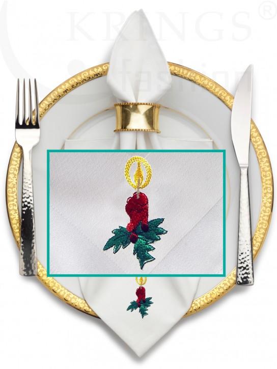 Serviette-Weihnachten, weiß, Motiv Kerze
