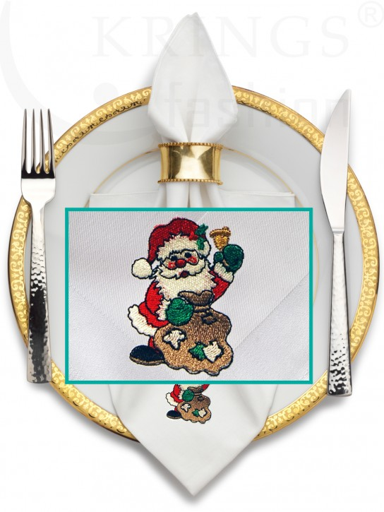 Serviette-Weihnacht, weisse Stoffserviette, Weihnachtsmann