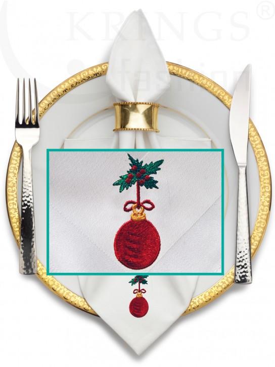 Serviette-Weihnacht, weisse Stoffserviette, Weihnachtskugel