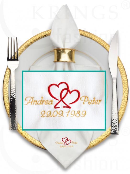 Serviette-Hochzeit, weisse Stoffservietten, Herzen