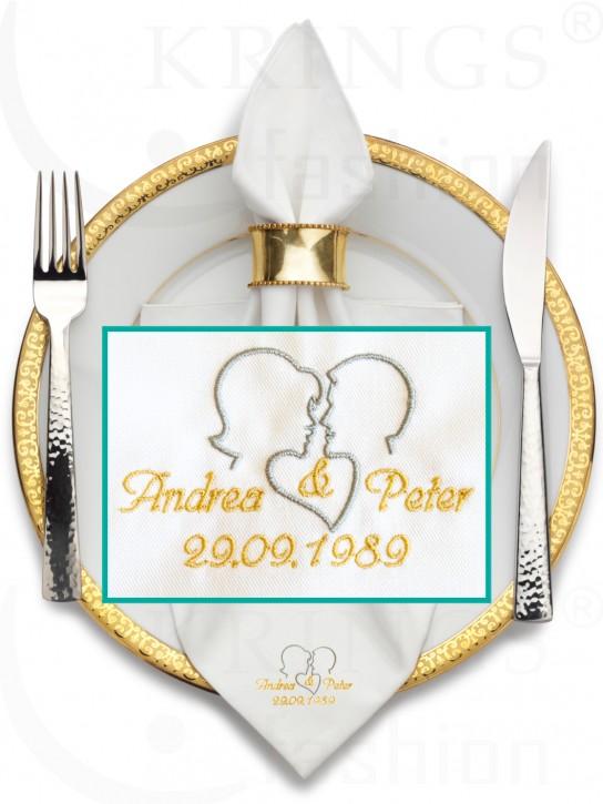 Serviette-Hochzeit, weiße Stoffservietten, Paar