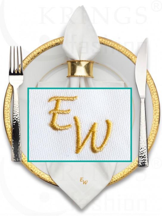 Serviette-Monogramm, weisse Stoffserviette, Wunschmonogramm in Gold