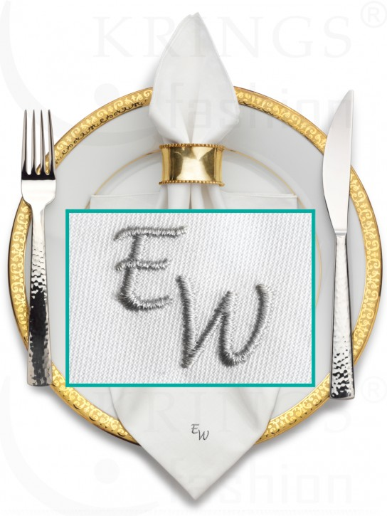 Serviette-Monogramm, weisse Stoffserviette, Wunschmonogramm in Silber
