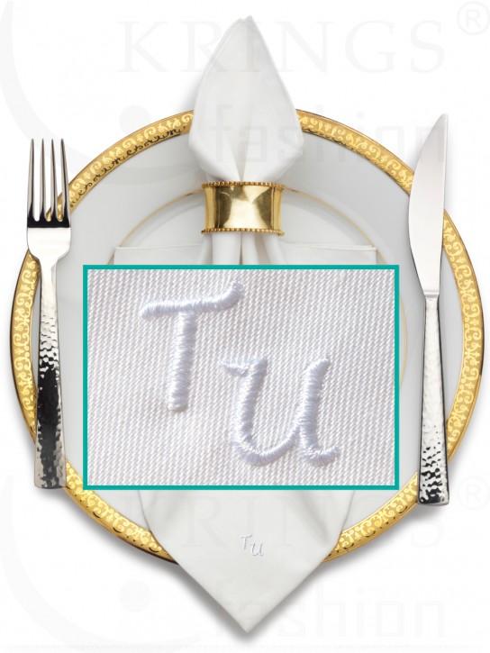 Serviette-Monogramme, weisse Stoffserviette, Wunschmonogramm in Weiss